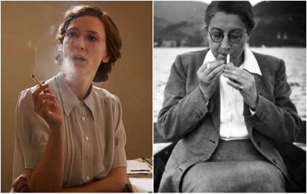 Cate Blancett as Claire Simone and the real-life Rose Valland.  (Image via HistoryvsHollywood.com)