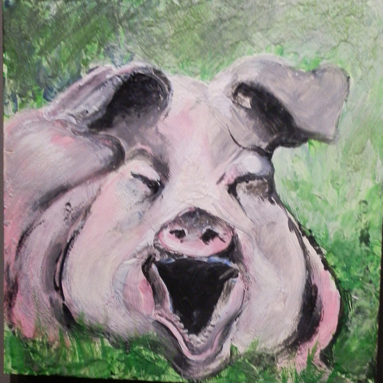 "Mark DeMaio, Enviropig, 16"" x 16"", oil on canvas (photo by author)"