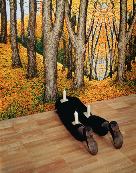 Robert Gober (American, born 1954) Untitled. 1991 Wood, beeswax, leather, fabric, and human hair. 13 1/4 x 16 1/2 x 46 1/8″ (33.6 x 41.9 x 117.2 cm)  The Museum of Modern Art, New York. Gift of Werner and Elaine Dannheisser Background: Forest, 1991 Hand-painted silkscreen on paper Image Credit: K. Ignatiadis, courtesy the artist and Matthew Marks Gallery © 2014 Robert Gober