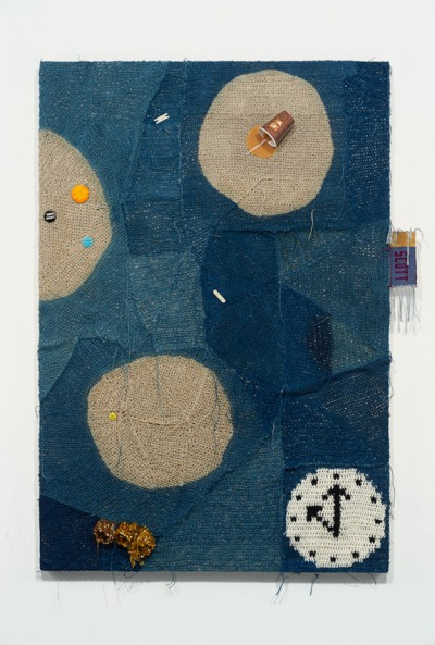 """Josh Faught, The Professor (Scott), 2014 Hand woven and crocheted hemp and gold lamé (hand dyed in colors to match the 2013/2014 fashion forecast), Indigo, wool, sequin trim, coffee spill (resin), pins, and Scrapbooking """"Band-Aids"""" on linen"""