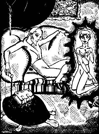 """Arthur Zaidenberg, """"Never had he experienced a more alluring relationship"""" (1931 illustration for A Rebours)"""