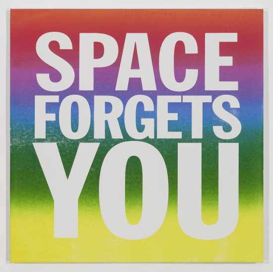 John Giorno, SPACE FORGETS YOU, 2015, Screenprint and enamel on linen