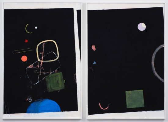 Scott Treleaven Ghosts at Number Nine, 2015 DIPTYCH: pastel, gouache, gesso, crayon, house paint and collage on paper two panels; each panel 75 x 50.5 inches