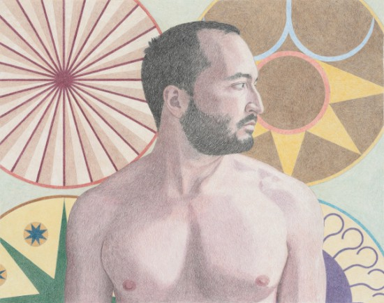 Elijah Burgher, Bachelor with solar-anal emblems (Jonathan), 2015, Colored pencil on paper (all images courtesy the artist and Zieher Smith & Horton, New York)