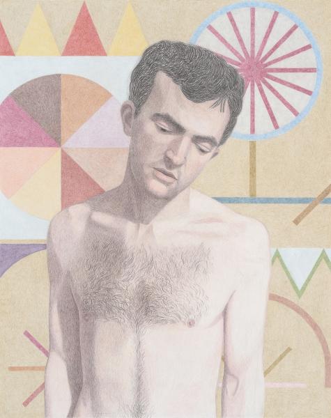 "Elijah Burgher, Bachelor with ""demons"" (Sleezy), 2015, Colored pencil on paper"