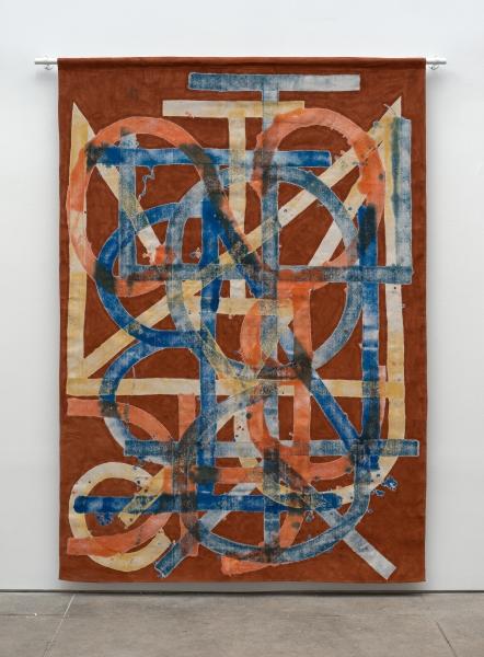Elijah Burgher, BotD (Eden, repeat), 2015, Acrylic on canvas drop cloth