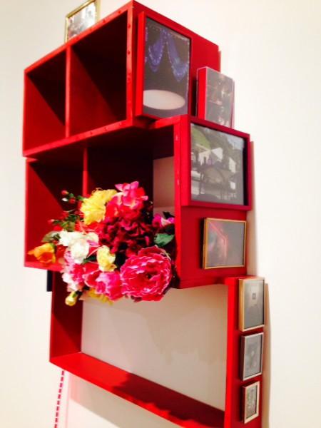Wu Tsang & RJ Messineo, Alter (Life Chances), 2011 Wood, spray paint, photos, frames, plastic flowers, rhinestone clutch