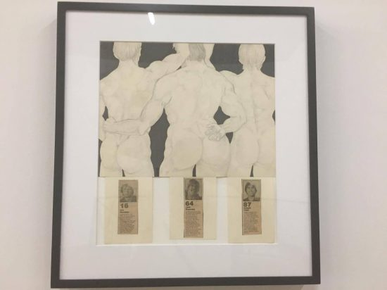 Curt McDowell, Untitled (#16 Joe Montana, #64 Jack Reynolds, & #87 Dwight Clark), c. 1982, graphite, marker and collage on paper