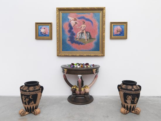 """McDermott & McGough, """"Hic Habitat Felicitas"""" / Temple of Onan, 1984 / 2016, Oil on canvas in wooden gold painted frame, hand-carved wooden table painted with oil and gouache, two ceramic urns painted with acrylic gouache"""