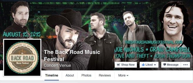 Header for the Back Road Music Festival