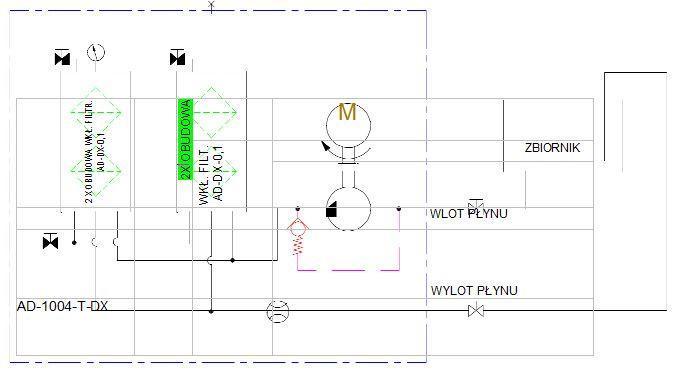 układ hydrauliczny- agregat filtracyjny AD1004-T-DX