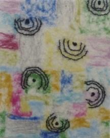 Merinowolle und Wollfäden auf Vorfilz und Seidenchiffon