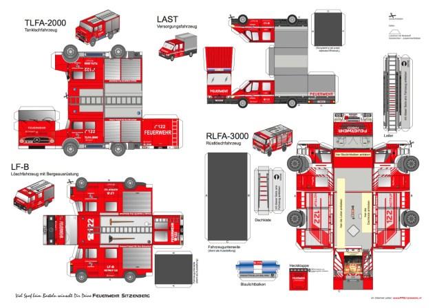 Bastelbogen Feuerwehrautos