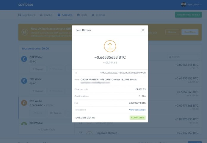 Coinbase Transfer to Estrahash