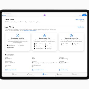 New privacy information in the App Store helps users understand the privacy practices of an app before downloading it.