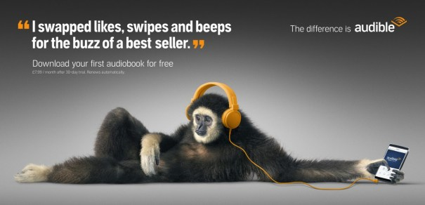 A monkey listening to an audiobook