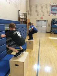 Two boys go head to head on the box jumps, pushing each other to do more! (Photo/Jaryd Leady)
