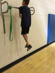 Here we can see a chin up, just a small variation from the normal pull ups the students were doing. (Photo/Jaryd Leady)