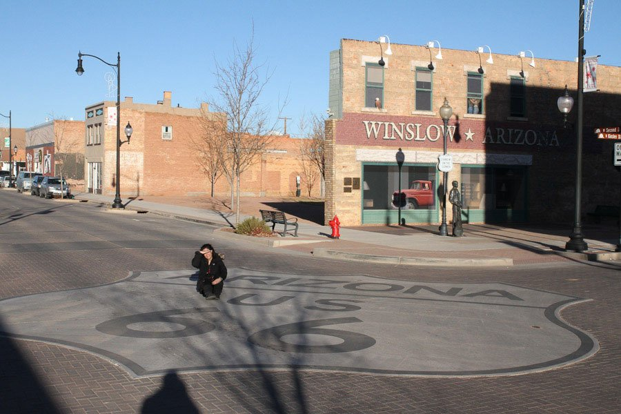 Standing on the corner in Winslow, Arizona