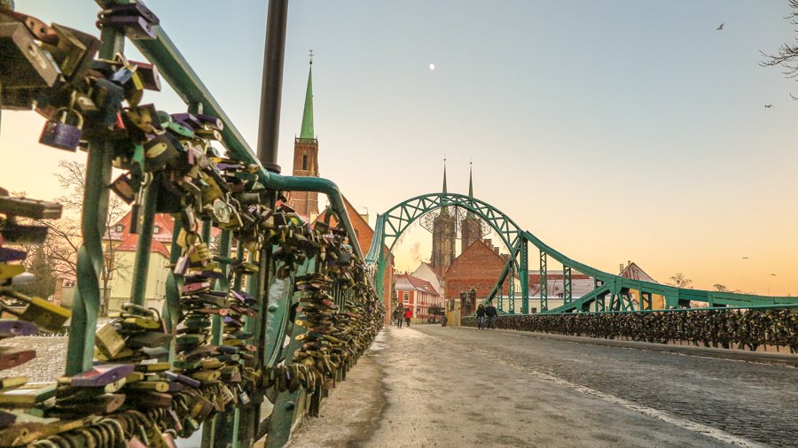 Love Locks at Tumski Bridge in Wroclaw, Poland