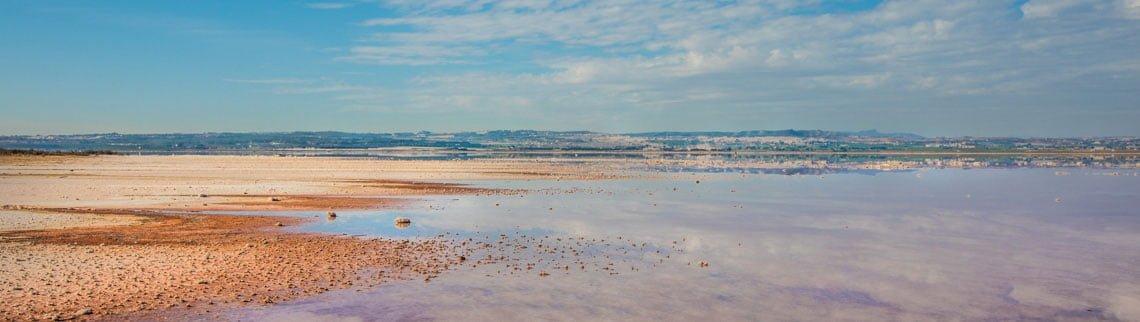 Pink lake in Torrevieja, Spain