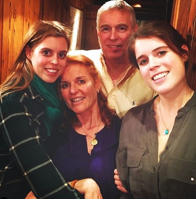 It's been a rocky week for Beatrice, who's father Prince Andrew has been embroiled in a scandal over his friendship with paedophile financer Jeffrey Epstein (pictured with Eugenie and Sarah Ferguson)