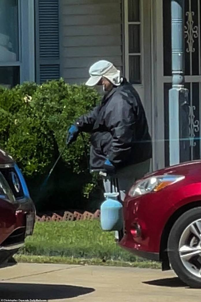 Eskilsden outside of his Virginia Beach home. He has made no attempt to explain his seemingly racist behavior which has outraged his ethnically-mixed neighborhood in Virginia Beach