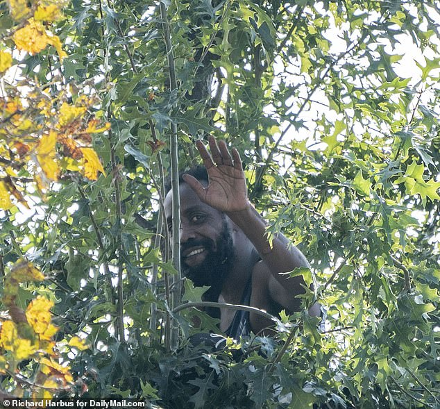 At one point - after spending more than 36 hours in the tree - he even smiled and waved at photographers