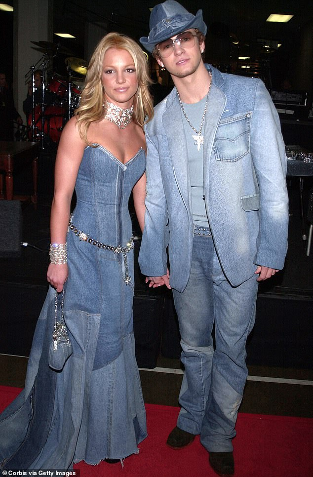 Dreamy: At the peak of their relationship, Justin and Britney were the king and queen of pop music; seen at the American Music Awards in 2001