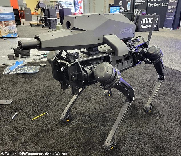 The 'Special Purpose Unmanned Rifle' (SPUR, pictured) is the brainchild of Philadelphia-based Ghost Robotics and arms manufacturer SWORD International of Sparks, Nevada