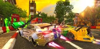 Cars racing around in Crusin Blast