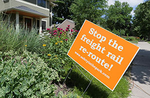 Signs in opposition of freight rail reroute plans are a common sight in St. Louis Park. This sign is two blocks east of St Louis Park High School. (File photo: Bill Klotz)