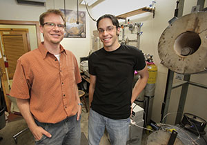 Martin Saar (left), an earth sciences professor in the University of Minnesota's College of Science and Engineering, and Jimmy Randolph, a research associate at the U of M and senior scientist at Heat Mining Co., shown here in 2011, developed the CPG process along with mechanical engineering professor Thomas Kuehn. (File photo: Bill Klotz)