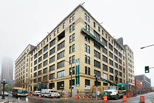 Minneapolis-based Sherman Associates is transforming the century-old Rayette Building, at 261 E. Fifth St. in St. Paul, from a parking garage into apartments. The building's history includes a stint as a warehouse. (Staff photo: Bill Klotz)