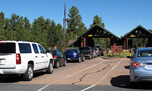 Cars line up Sept. 30 at Grand Canyon National Park's South Rim entrance before the park was closed on Oct. 1 because of the partial government shutdown. (AP photo: Felicia Fonseca)