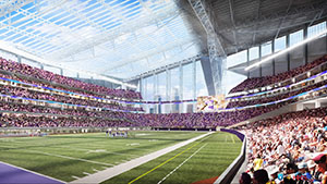 The authority overseeing construction of the new Vikings Stadium in downtown Minneapolis is on the hunt for a firm to monitor concrete work that will be self-performed by Mortenson Construction, the construction manager for the $975 million project. (Submitted rendering: HKS)