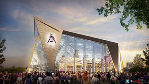 Bids for the new Vikings stadium are coming in higher than expected, forcing the project team to do some value engineering. Groundbreaking is scheduled for mid-November. (Submitted rendering: HKS)