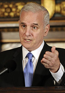 Gov. Mark Dayton says that although disagreements over light rail are likely to continue, he hopes to resolve opposition from Minneapolis Mayor R.T. Rybak and the City Council. (AP file photo)