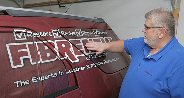 """I just thought it would be easy to find another job, and well, 'Hello,'"" says Clint Covey, of Lakeville, who left a corporate accounting job at age 53 and eventually bought a franchise called Fibrenew. (Staff photo: Bill Klotz)"
