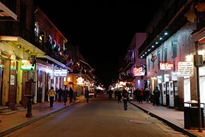 A general view of Bourbon Street at night in the French Quarter of New Orleans, a major attraction for visitors. The Astor Crowne Plaza Hotel at the corner of Canal and Bourbon streets was sold recently, adding to a flurry of hotel transactions in the city. (AP file photo)