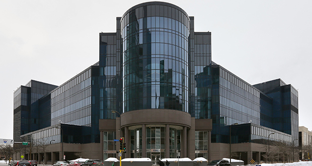 The Ameriprise Operations Center, at 1001 Third Ave. S. in Minneapolis, was built in 1988. The property is valued by Hennepin County at nearly $20 million. (Staff photo: Bill Klotz)