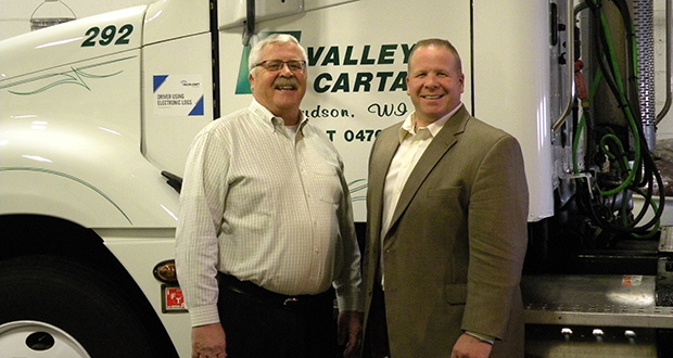 Jerry Gilbert, left, and his son, Todd Gilbert, worked together for nearly 20 years before they started planning for succession for the family-owned Valley Cartage trucking company. (Submitted photo: Valley Cartage)