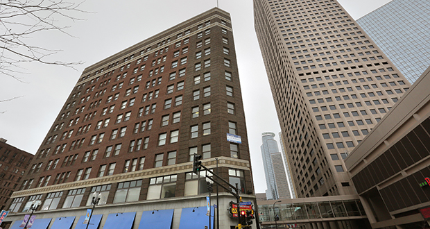 Briefly targeted for apartments, Minneapolis-based Heartland Realty Investors is believed to be pitching a plan to convert the 12-story Plymouth Building into a 270-room luxury hotel. (File photo: Bill Klotz)