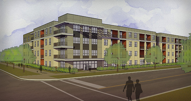 Sherman Associates' 190-unit apartment complex at 2785 Fairview Ave. N. in Roseville would be built in two phases. (Submitted rendering: Kaas Wilson Architects)