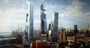 A rendering of the first phase of Hudson Yards on the West Side of Manhattan in New York is shown in this handout photo released to the media. The two towers on the right are office buildings designed by Kohn Pedersen Fox. The tower in the left foreground is a residential tower designed by Diller Scofidio & Renfro with the Rockwell Group. (Rendering: The Related Companies via Bloomberg)