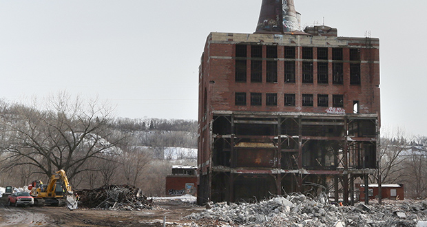 Little Canada-based Frattalone Cos. and Idaho-based Advanced Explosives Demolition  have started demolishing the Island Station power plant at 380 Randolph St. in St. Paul. (Staff photo: Bill Klotz)