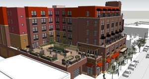 Bloomington-based Doran Cos. wants to build a hotel at 1315-1319 Fourth St. SE in Minneapolis, but the city has delayed the project to determine whether the 93-year-old building at 1319 Fourth St. is historic. (Submitted rendering: Doran Architecture)