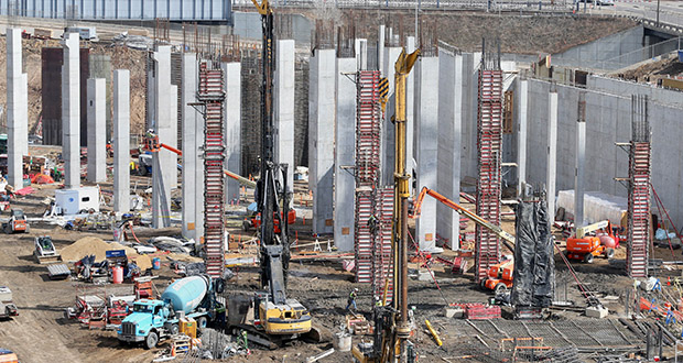 As of Friday, more than half of the excavation at the Vikings stadium construction site has been finished, drilled pier work is 15 percent complete, and about 4 percent of the concrete pours have been finished, said Allen Troshinsky, director of operations for the sports group of Mortenson Construction. (Staff photo: Bill Klotz)