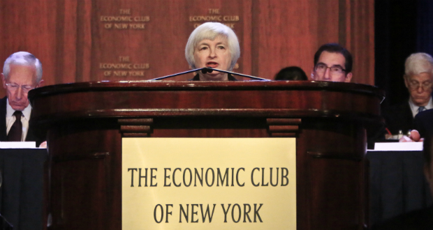 Speaking Wednesday to the Economic Club of New York, Fed Chair Janet Yellen emphasized her commitment to support the recovery even as full employment comes into view. (AP photo: Bebeto Matthews)