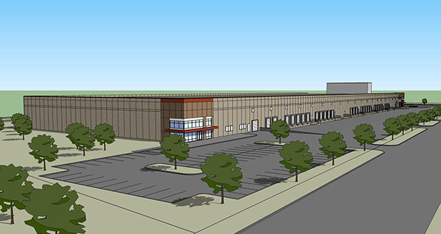The North Dakota-based Investors Real Estate Trust plans to open the new 221,000-square-foot warehouse building at 3075 Long Lake Road in Roseville later this year. The building currently has one tenant lined up. (Submitted rendering: Mohagen Hansen Architect Group)